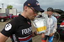 """Marcus staying hydrated before the start with his """"grown up size"""" capri-sun"""